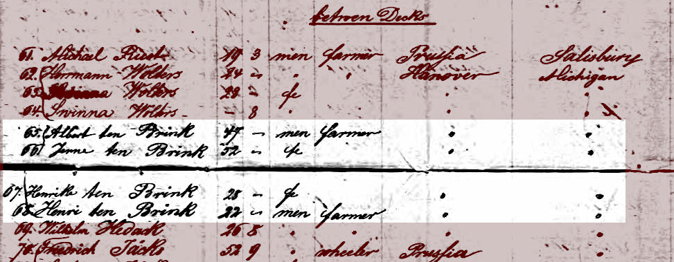 Handwritten passenger arrival list showing the four members of the Albert Ten Brink family aboard the S.S. Von Stein immigrant ship.