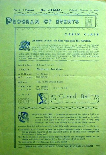 Activities program from a 1949 voyage of the M.V. Italia.