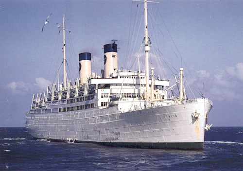 Color photo of the MV Italia passenger ship in the 1950s. The Kortmann family traveled aboard this ship.