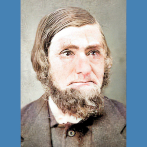 Colorized photo of Arend Jan Neerken, early settler of Graafschap. He has brown hair and a beard.