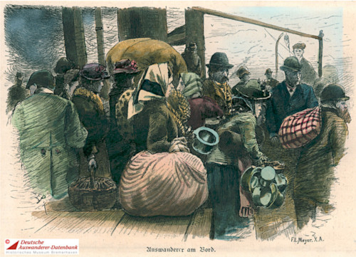 Colored painting of immigrants on board a ship. They're carrying large sacks and baskets.