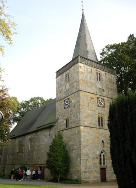 The Reformed church in Emlichheim. The Bentheim sandstone has many colors, including gold and orange.