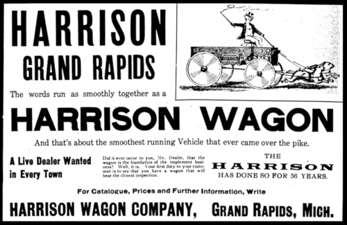 Advertisement for Harrison Wagons, a farm implement manufacturer in Grand Rapids.
