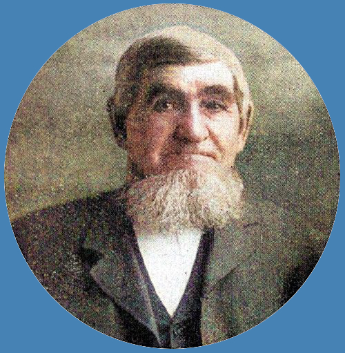 Colorized photo of Kasper LaHuis, early settler of Graafschap. He has short gray hair and a beard.