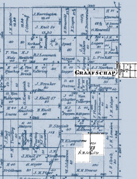 Plat map showing B.H. Scholten's farm south of Graafschap in Laketown Township.