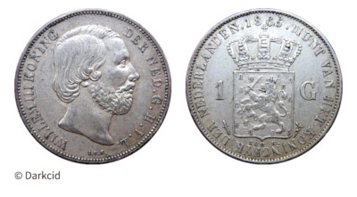 Photograph of a silver coin with a silhouette of King Willem III on one side and the Netherlands coat of arms on the other.