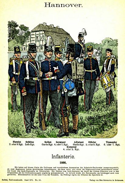 Painting of 8 Hanover soldiers, including a drummer, in a field in front of a German farmhouse.