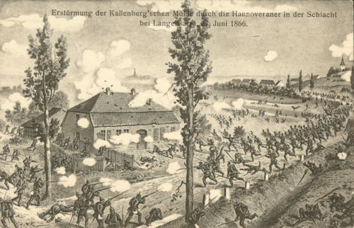 Black and white artwork showing many Hanoverian soldiers storming a mill at Langensalza.