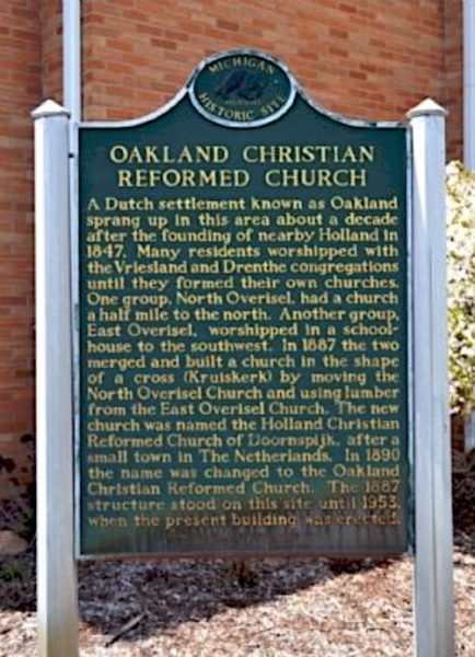 Photo of a Michigan historical marker by the Oakland Christian Reformed Church.