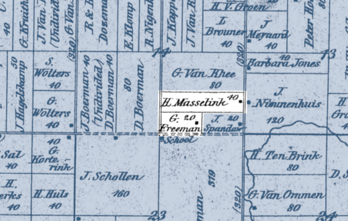 """1873 plat map of Overisel Township showing """"H Masselink"""" with 40 acres next to """"G. Freeman"""" with 20."""