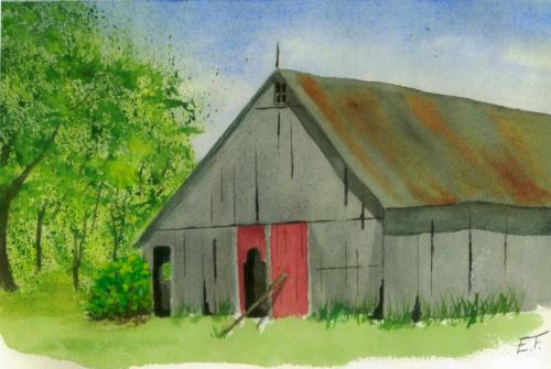 Watercolor of Harm Masselink's barn, painted by Elizabeth Freeman, Harm's great-great-granddaughter.