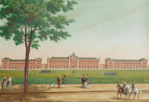 Color painting of well-dressed people strolling on a street next to a large military parade ground. In the background are very large barracks constructed of red brick.